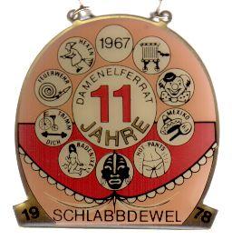 Jahresorden 1978 11 Jahre Damenelferrat der Schlabbdewel