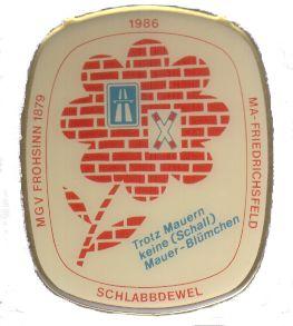 Jahresorden 1986 Trotz Mauern keine (Schall)Mauer - Blümchen