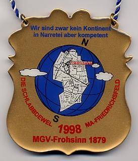 Jahresorden 1998 Wir sind zwar kein Kontinent, in Narretei aber kompetent !